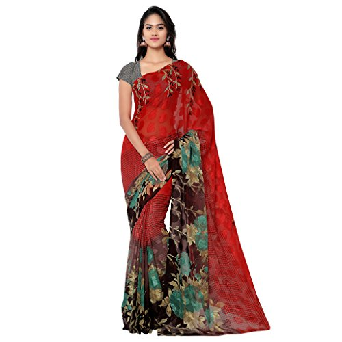 Gl Sarees Brasso Saree (Gl228_Red And Black)