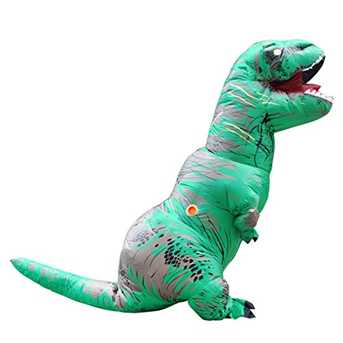 Halloween Kostüm T-REX Blow Up Cosplay Aufblasbarer Dinosaurier Grün (Grün Blow Up Anzug)