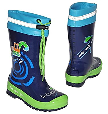 Gummistiefel - Bagger Auto - mit Reflektor + zum Schnüren - Größen 20 bis 34 - für Kinder / Jungen - Naturkautschuk + Innenfutter Baumwolle / Regenstiefel Handbemalt mit 3-D Effekt - Fahrzeuge blau Schnürung