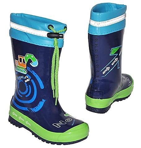 Gummistiefel - Bagger Auto - mit Reflektor + zum Schnüren - Größe 27 - für Kinder / Jungen - Naturkautschuk + Innenfutter Baumwolle / Regenstiefel Handbemalt mit 3-D Effekt - Fahrzeuge blau Schnürung