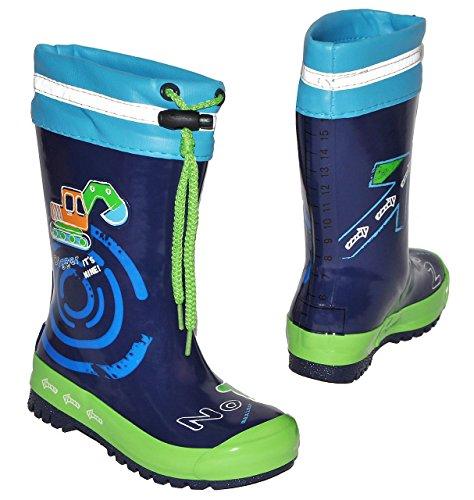 Gummistiefel - Bagger Auto - mit Reflektor + zum Schnüren - Größe 28 - für Kinder / Jungen - Naturkautschuk + Innenfutter Baumwolle / Regenstiefel Handbemalt mit 3-D Effekt - Fahrzeuge blau Schnürung