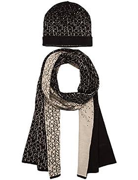 Calvin Klein Jeans Damen Mütze und Schal-Set LOGO GIFT SET