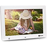 Arzopa 12.1 zoll WideScreen Digital Foto & HD Video 1080p Rahmen Hi-Res 1280x800 mit Bewegungssensor Multifunktions-Werbe-Player Unterstützung MP3 MP4 Video Clock Kalender (Weiß)