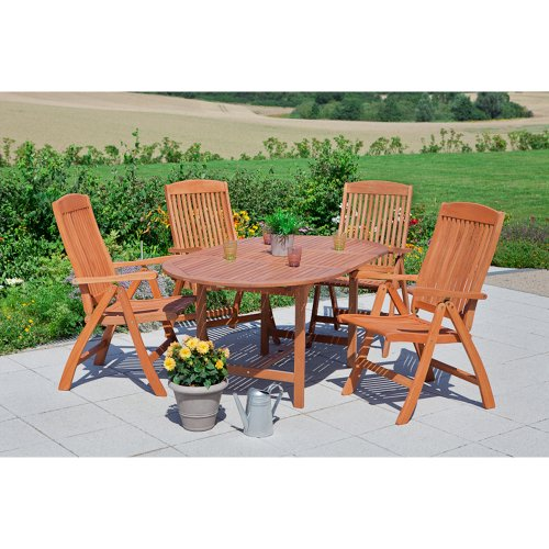 MERXX Gartenmöbel-Set Neapel 5-tlg. aus Eukalyptusholz, Klappsessel und Tisch 140x80 cm