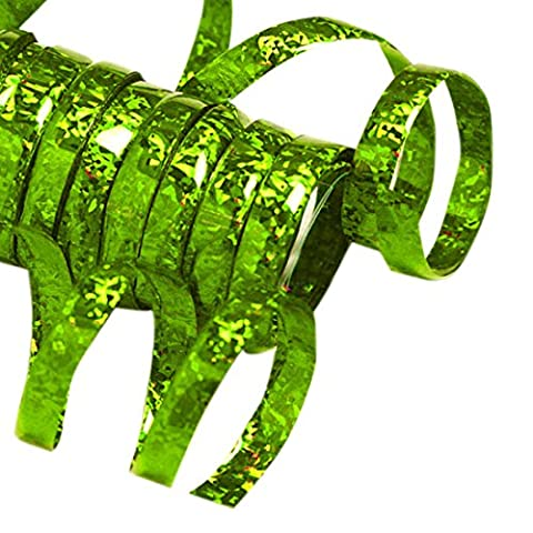 erdbeerloft - Partydekoration Glitter Luftschlangen 10 Einzel Rollen holographisch metallic funkelnd, Grün