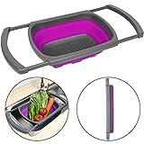 Philwin Contenance de 3.8l Passoire pliable, sur la stabilité de l'évier de cuisine avec base pour debout, passe au lave-vaisselle, sans BPA, Violet