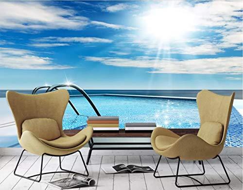 3D Fototapete 3D Effekt Blauen Erfrischenden Swimmingpool Hintergrund Mauer Tapete Vlies Wandbild Wohnzimmer Hintergrundbilder Wanddeko