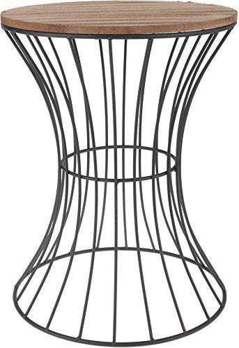 Designer Beistelltisch aus Metall mit Holz Tischplatte – dekorativer Tisch mit geschwungenem Metallgestell