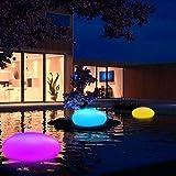 Colorato Luci Solari da Giardino con Telecomando Cobblestone Deco Lampada Solare LED Galleggiante per Piscina Wireless Interni Esterni Impermeabile 8 colori