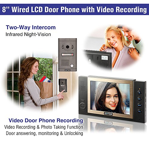 "Generic 8"" inch Color LCD Wired Video Door Phone Doorbell Home Entry Intercom Kit System 3 Monitor 1 Camera with SD Recording Night Vision 801D2 (Black)"
