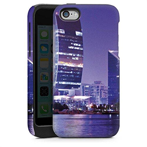 Apple iPhone 4 Housse Étui Silicone Coque Protection Dubaï Ville Horizon Cas Tough brillant
