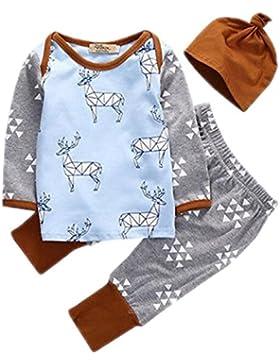 Bestanx Weihnachten Elch Baby Jungen Mädchen Langarm Tops + Hosen+Hut Kleidung Outfits (0-24 Monate)