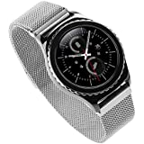 Generic 20mm Acero Inoxidable Watch Band para Samsung Gear S2 Classic, Moda Durable Milanese Banda Muñeca Correa de Reloj Reemplazo Reloj Muñeca Band Watchband Strap Watchband con Magnético Hebilla para Samsung Gear S2 Classic con Connector - Plata(No incluido Watch)