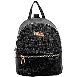 Nueva mochila para mujer Bolso de viaje Mochila Escolar Bolsa de hombro LMMVP (19cm*17cm*12cm, Negro)