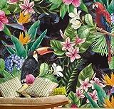 HUANGYAHUI carta da parati 3D Del Sudest Asiatico Dipinte A Mano Flamingo Carta Da Parati Dipinti Murali Di Foresta Pluviale Tropicale Wallpaper Soggiorno Tv Pareti Parete 400 * 280Cm(W * H)