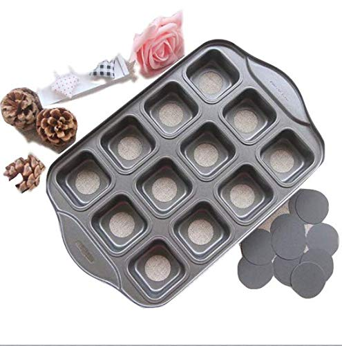 Square Muffin Pan (MYQG Backtablett Nonstick Deluxe 12 Mini Cheesecake Pan Square Geformte Muffins Quiches Kaffee Kuchen Form DIY Backwerkzeug Mit Farbbox)