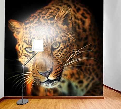 Papel pintado de la foto del PVC - etiqueta autoadhesiva de la pared de ECO Mural - etiqueta engomada de la pared del vinilo 3D - Leopardo SW046(200X200CM)