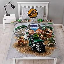 LEGO Jurassic World Housse de Couette Simple en Polyester réversible Deux côtés avec taie d'oreiller Assortie