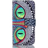Ultra Slim Housse de Protection avec Support pour Galaxy A5 2016 Case Cover - Etui Rabat Cuir Coque pour Samsung Galaxy A5 (2016) SM-A510F Protection avec Carte Pochette - Yeux verts
