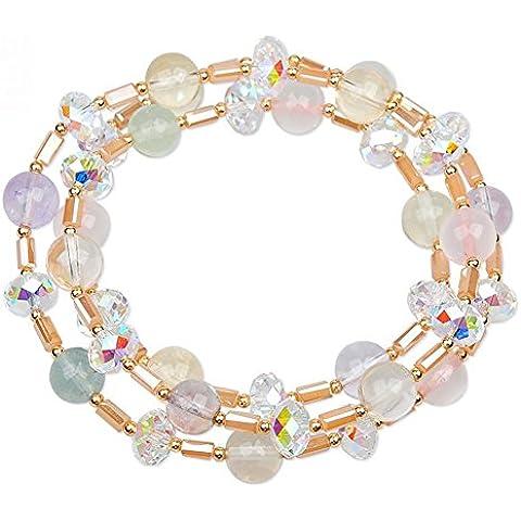 YKQJING Esclusivo regalo di moda femminile genuino cristallo colorato bracciale multistrato - Granato Genuino Bracciali