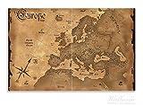 Wallario Herdabdeckplatte / Spritzschutz aus Glas, 2-teilig, 80x52cm, für Ceran- und Induktionsherde, Motiv Alte Weltkarte Karte von Europa in englisch