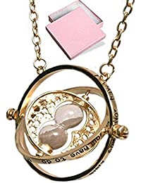 Harry Potter Cadena con diseño de giratiempo, colgante dorado con reloj de arena, en Caja de Regalo