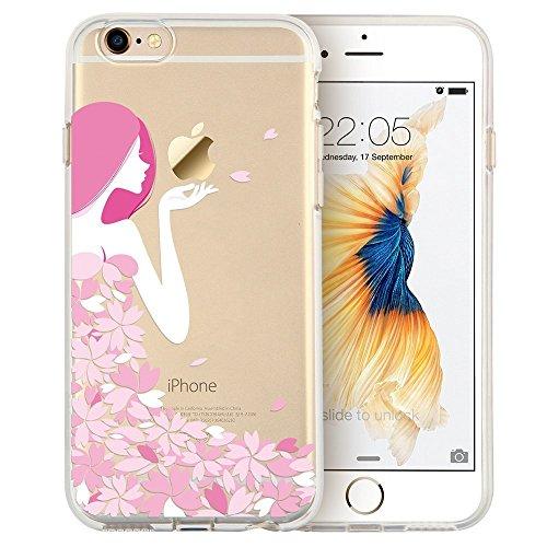 Blitz® Mania Series Transparent Weiche Silikon Schutzhülle TPU Bumper Case iPhone Ballon Mädchen iPhone 7 Mädchen Blüte