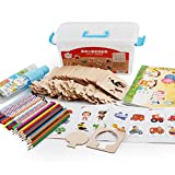 Biback MWZ Kinder Malerei Vorlage Set Baby Zeichnung Lernwerkzeuge Puzzle Malerei Spielzeug Hölzernes Graffiti-Farbton-Brett