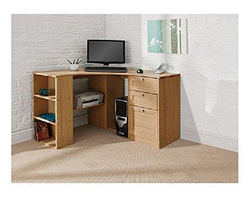 fraser wood computer corner desk workstation oak proffesional home office l shaped combination. Black Bedroom Furniture Sets. Home Design Ideas