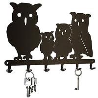 steelprint.de Key holder - family Owl - beautiful key hook for wall - 6 hooks - black - metal