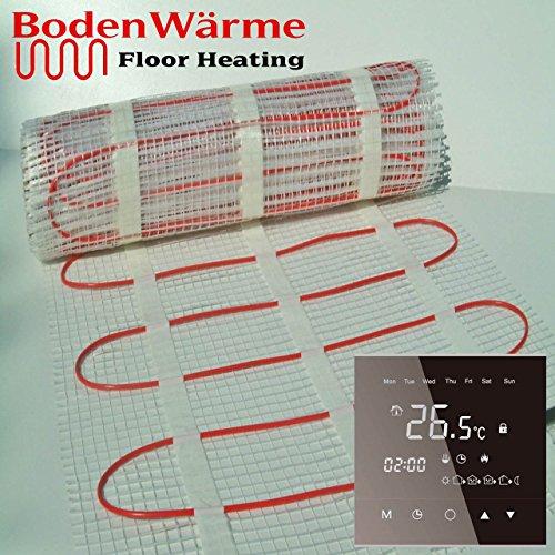Heizmatte unter Fußboden mit Thermostat 200W/m² bodenwärme Fußbodenheizung elektrisch-Qualität mit Thermostat für Fliesenböden, Kabel Doppel Fahrer 200 wattsW (Fußbodenheizung-kabel)