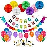 Juego de banderines de fiesta de cumpleaños con 8 bolas de papel de panal, 20 globos de látex para fiesta, arcoíris de papel, un juego de decoración para tarta de cumpleaños