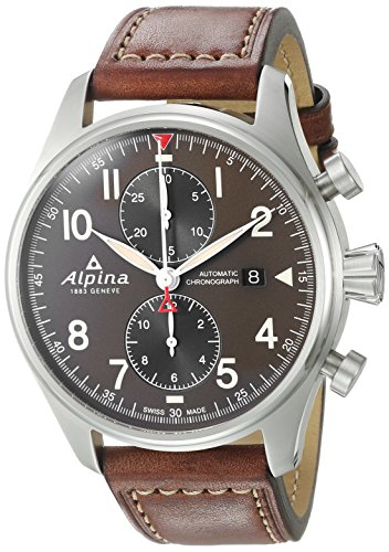 Alpina Men's Startimer Pilot 44mm Brown Leather Band Steel Case Automatic Green Dial Watch AL-725GR4S6