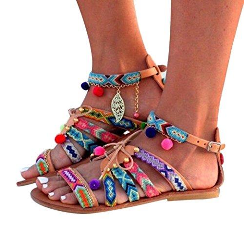 DoraMe Sandalias Sandalias Bohemia de Mujer Cuero Zapatillas Mujer de Gladiador Pisos de Zapatos Sandalias Pom-Pom Shoes (EU:38/CN:39, Multicolor)