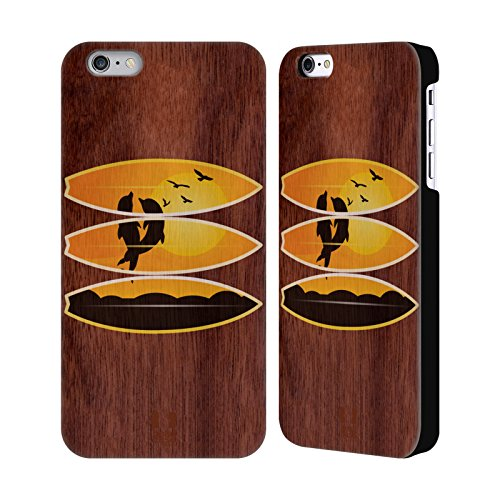 Head Case Designs Surf De Vague Surfeurs Étui Coque Rigide En Bois De Noix Pour Apple iPhone 6 Plus / 6s Plus Dauphin