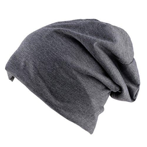 Thenice Berretto Unisex Jersey Beanie Hat Sportivo (Grigio scuro)
