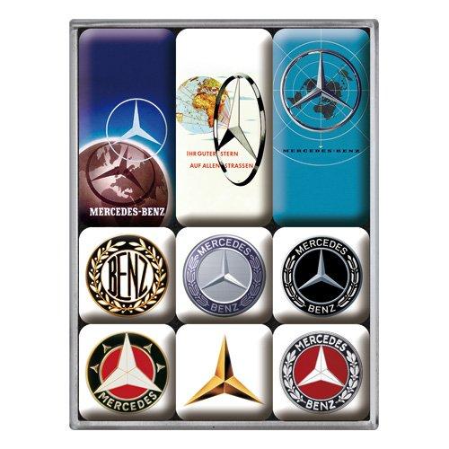Nostalgic-Art 83103 Mercedes-Benz - Logo Evolution | Retro Magnet-Set (9teilig) | Kühlschrank-Magnete | Vintage