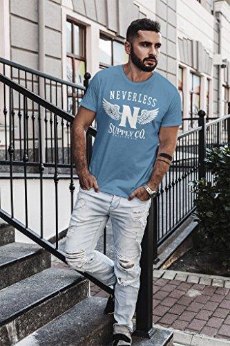 Neverless Herren T-Shirt Supply Adler Wings Slim Fit Adler stone blue