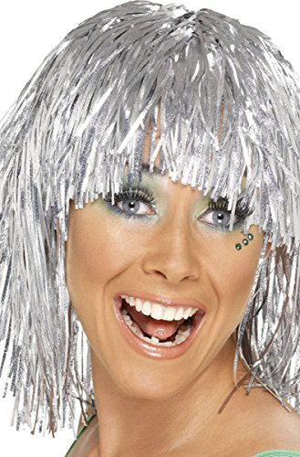 Adulti 1970 Disco Donna Cyber Tinsel parrucca Fancy Funny femmina Dress Up Silver Taglia unica