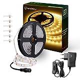 Onforu 5M LED Strip mit Netzteil | LED Streifen 300 LEDs Lichtband mit AN/AUS-Schalter 3000K Warmweiß | Selbstklebend 2835 SMD LED Band | Innenbeleuchtung für Küche, unter Schrank, Party, Haus Deko