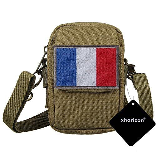 xhorizon TM taktischer Militaer-/ Nothilfe-/ medizinischer Sack (Molle), wasserdichte taktische EDC Tasche(Molle) (Huefte/ Gurt) # 2 mit Frankreich Flag Magic Tape