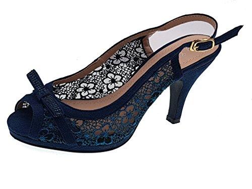 Piccoli monelli ♚ Scarpe Spuntate Donna Tacco Basso Eleganti estive Aperte  Dietro con Fibbia Ricamate Blu TG 38 94bc62a6783