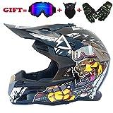 Motocross Motorradhelm für Erwachsene und Cross Country MX-Offroad-Motorrad für Erwachsene (Handschuhe, Brille, Maske, 4er-Set),White,L