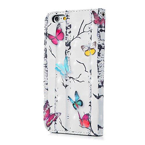 MAXFE.CO Lederhülle Case Schutz für iPhone 6 6S PU Leder + TPU Innere Etui Schale Backcover Brieftasche 3D Design Pfirsichblüte Flip Cover mit Kartenfächer Magnetverschluß Standfunktion Bunt Schmetterling