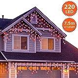 Eiszapfen Lichterkette Außen 220 LED 7,5m/24ft Lit Länge Rot Baum Lichter Weihnachten Lichterketten Aussen Memory & Timer Funktionen, NetzBetriebene 10m Lead Wire - Grünes Kabel