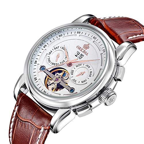 Herrenuhren Tourbillon Hohle Uhr Automatische Mechanische Uhr, Silberring Weiße Oberfläche