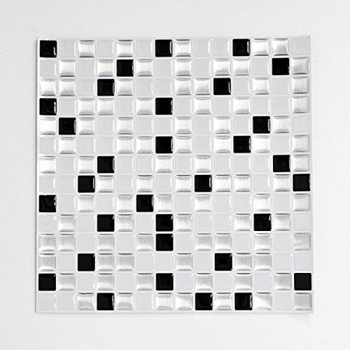 Mosaik Fliese selbstklebend Vinyl Folie Vinyl silber schwarz weiß Vinyl Squares Black and White Stahls 4er Pack für WAND KÜCHE FLIESENSPIEGEL THEKENVERKLEIDUNG Mosaikmatte Mosaikplatte Square Format Matte