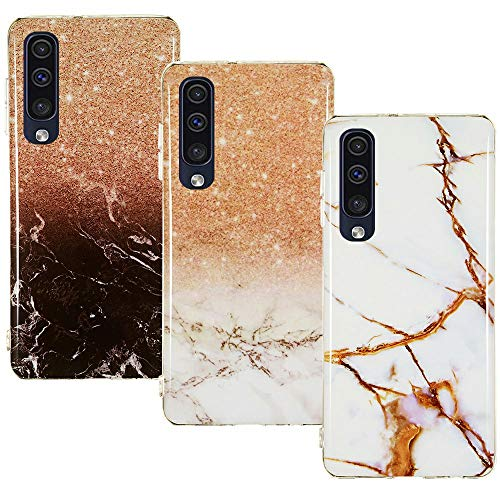 CLM-Tech Hülle 3X kompatibel mit Samsung Galaxy A50, TPU Silikon-Hülle Case Schutzhülle Handyhülle 3er Set, Marmor braun weiß Mehrfarbig -