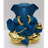 Gold Deep Blue Appu Ganesha/ Gold Plated Lord Ganesh (4.5x4x3cm)/ Ganesha Online/ God Ganesh Idol/ Vinayaka Idol/ Gold Ganesha/ Vinayaka Statue/ Car Ganesh/ Car Dashboard Ganesha/ Ganesh Murti/ Ganesh Online Shopping