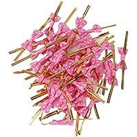 50pcs Lazos Decorativos Alambre Metálico para Bolsas de Dulces Galleta Color Fucsia